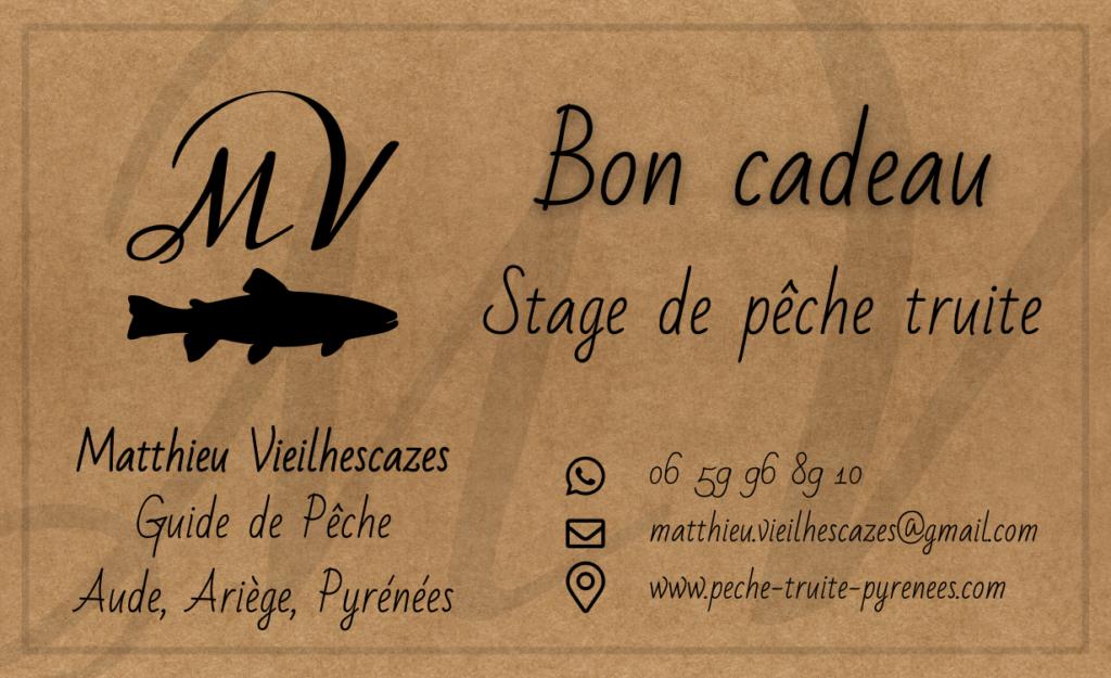 Bon-Cadeau - stages de pêche truite Matthieu Vieilhescazes - Guide de pêche.
